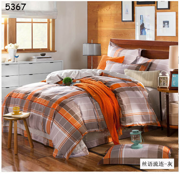Grey orange plaids bedding set 4pcs bed set 100% cotton bedclothes comforter cover bed sheet pillowcases brief bed linens 5367(China (Mainland))