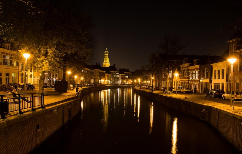 Canvas Prints Stretched Framed Fine Art Giclee Artwork For Wall Decor City Night Canal River Evening Groningen Hoge Der A(China (Mainland))