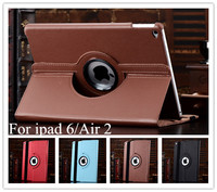 High Quality 360 Degree Rotating Stand Leather Case Smart Cover For iPad Air 2 iPad 6 case With Automatic Wake/Sleep Function