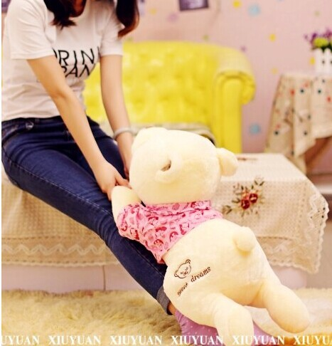 Фотография new creative lying bear toy plush squinting in pink cloth bear doll gift about 70cm