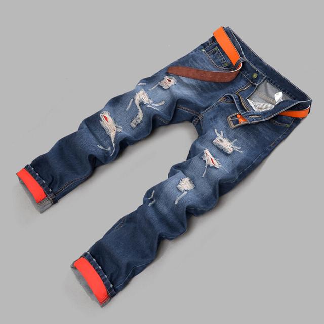 Новинка рваные джинсы синий цвет размер 28--38 сексуальная прямо тонкий джинсовые ...
