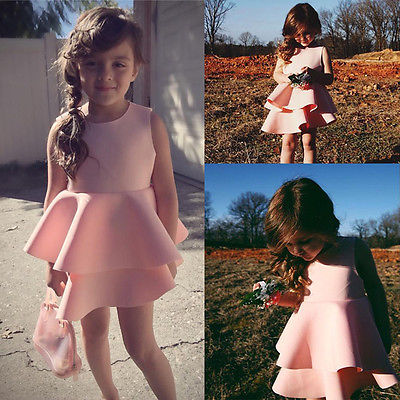 2016 Summer Pink Kids Baby Girls Dress Sleeveless Vacuum Cotton Layered Gown Formal Party Dresses 3-10Y(China (Mainland))