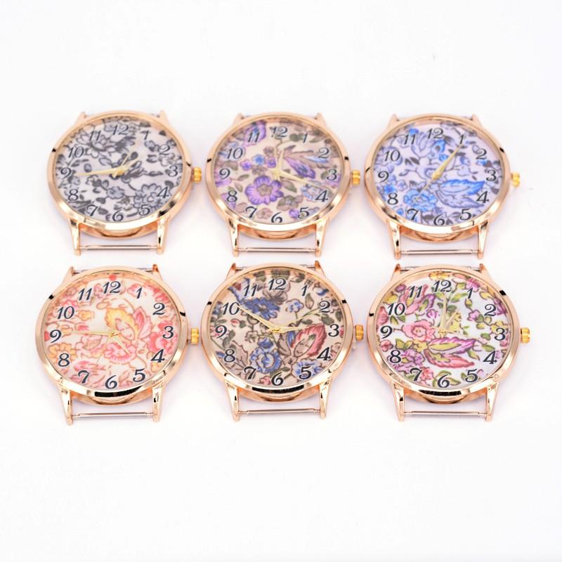 10pcs Flower Printed Watch Face Alloy Flat Round Watch Head, Rose Gold, Mixed Color, 44.5x40.5~41x7.5mm; watch face: 35mm(China (Mainland))