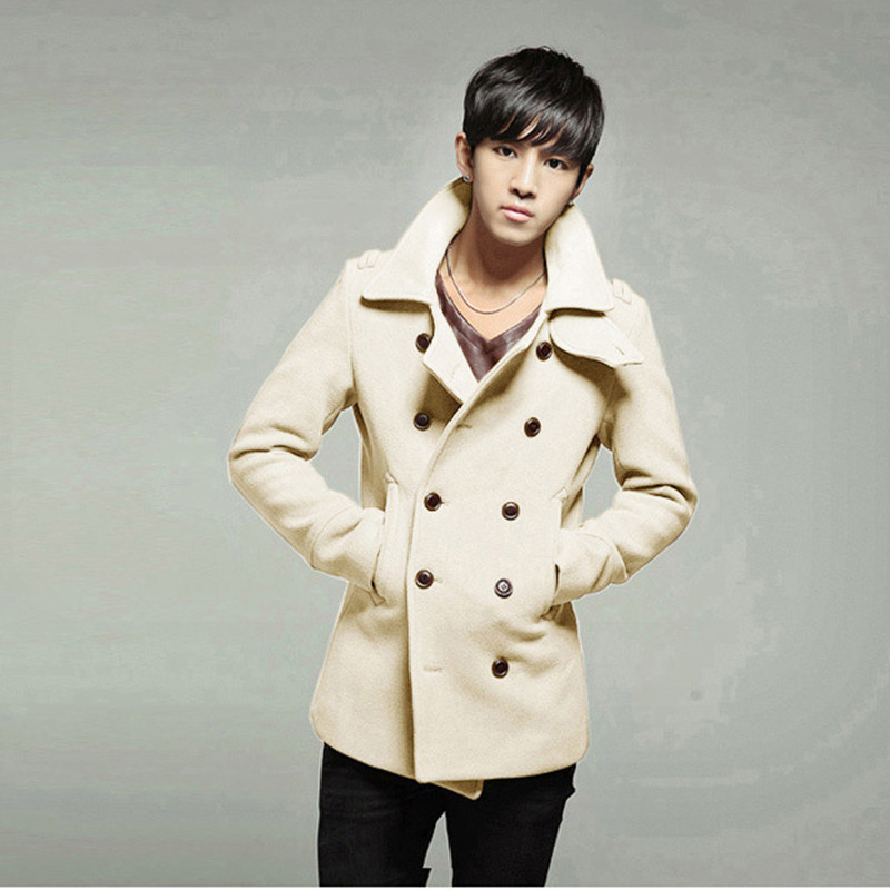 2016 New Kroen Fashion Trench Coat Men Double Button Sobretudo Masculino 8 Colors Slim Fit Casacos Masculino Warm Trench Coat(China (Mainland))