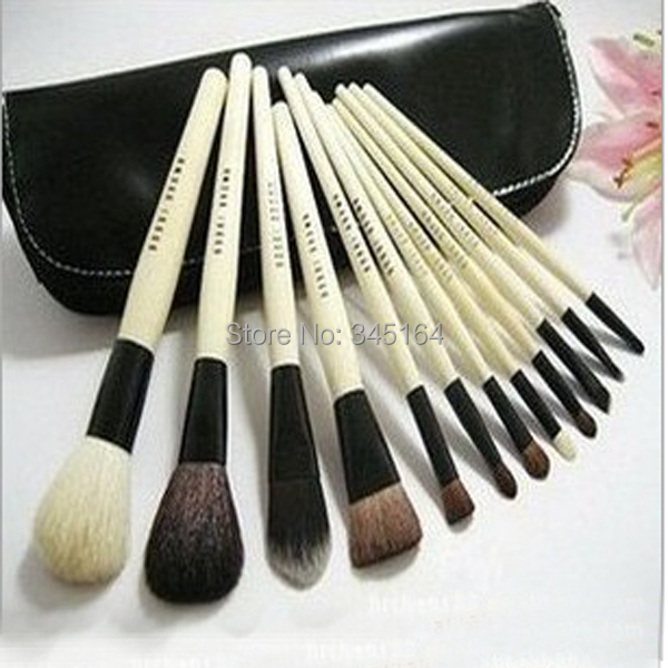 New arrival wholesale 1 set professional 12 pcs synthetic hair brand name bb cosmetics brush set make up tapered brush kits(China (Mainland))