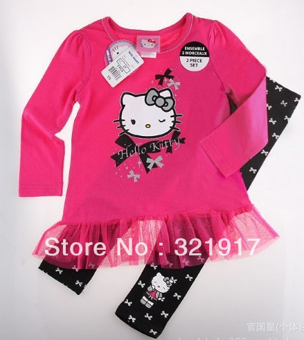 New Arrival children's set 5set/lot girls set 100% cotton sets long sleeve t-shirt+pants suit hello kitty clothes(China (Mainland))