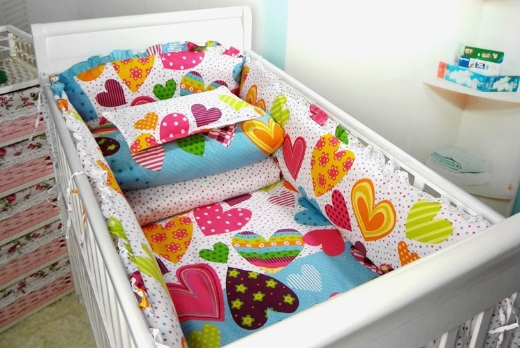 Promotion! 6PCS Lovely Flower 100% Cotton Baby Nursery Comforter Cot Crib Bedding Set Bumper,include(bumpers+sheet+pillow cover)(China (Mainland))