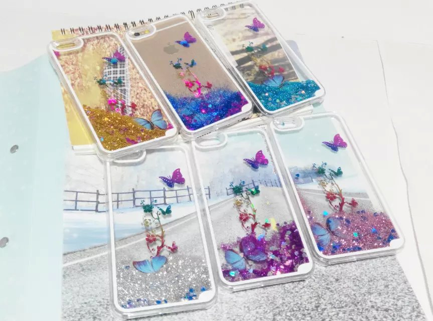 """1PCS Clear Butterfly Flowers Sand Transparent Flowing Sand Pattern Liquid Case For iPhone 6 4.7"""" Hard Plastic Cell phone cases(China (Mainland))"""