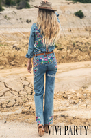 People Luxury Embroidered Mid Waist Flared Boho Jeans Female Boot Cut Embroidery Bell Bottom Jeans Denim Trousers Free Shipping