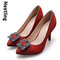 New 2016 Spring Fashion Wedding Shoes High Quality Nubuck Leather Shining Rhinestone Women Pumps High Heels