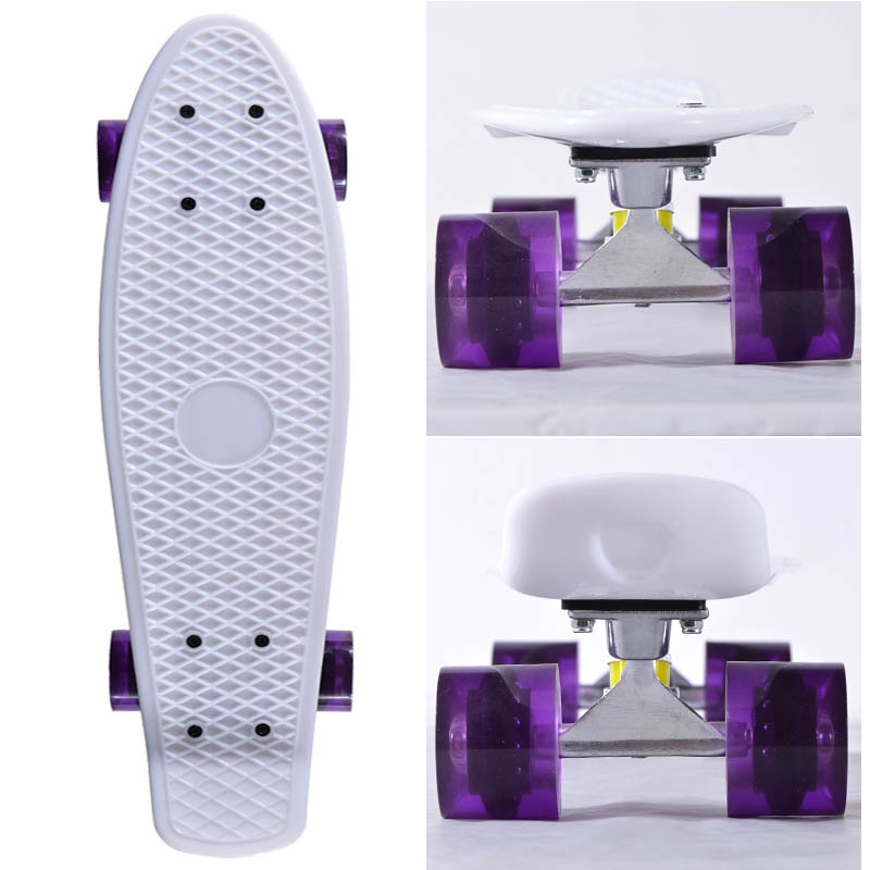 22 inch White Decks with Sliver Alu Alloy trucks come with Different Wheels color Penny Board Skateboard(China (Mainland))