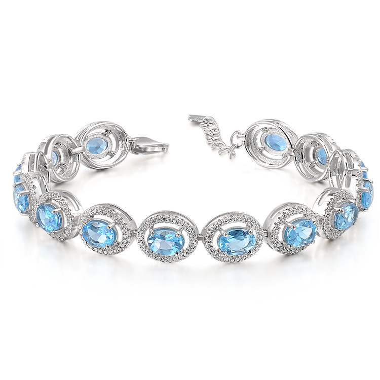 Natural Topaz 925 Sterling Silver beautiful link bracelet Women's Girl Crystal birthday gift Birthstone Blue Gem Fine jewelry - Eternal Gift store