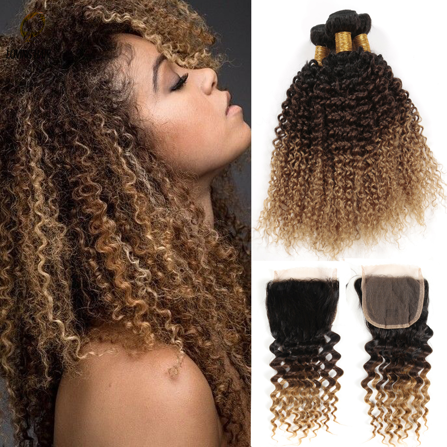 Grade 7A Peruvian Virgin Hair With Closure,Cheap Ombre Brazilian Kinky curly With Lace Closure 3 Bundles With Closure Human Hair