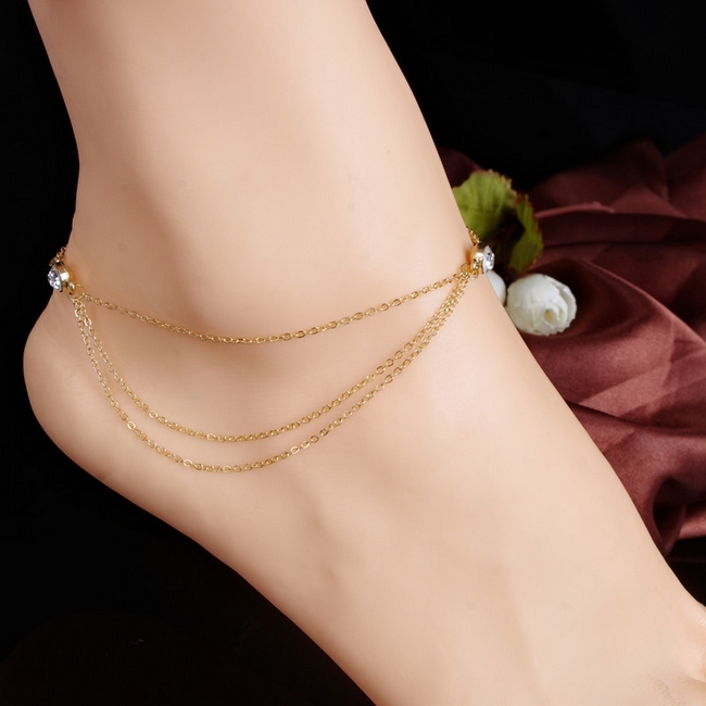 Fashion Simple CZ Diamond Anklet Bracelet Foot Chain18K Gold Plated Anket Beach Foot Jewelry For Women Lady Brithday Gift