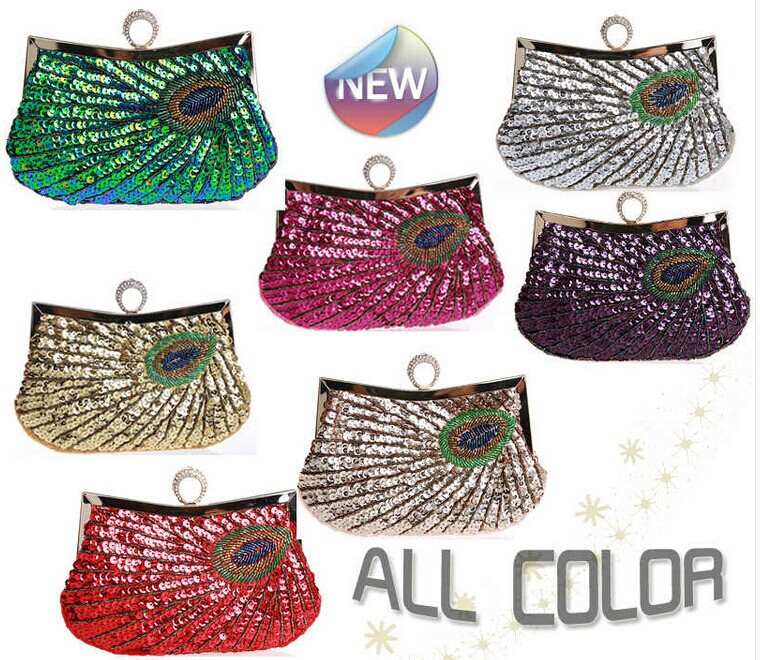 2015 Unique Designer Beaded Sequins Free Shipping Cheap Bridal Hand Bags Party Bags Wedding Handbags(China (Mainland))