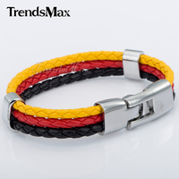 7-11inch Germany German Flag Style Rope Surfer Leather Bracelet Wristband Wholesale Fashion MENS Womens Jewelry LB137