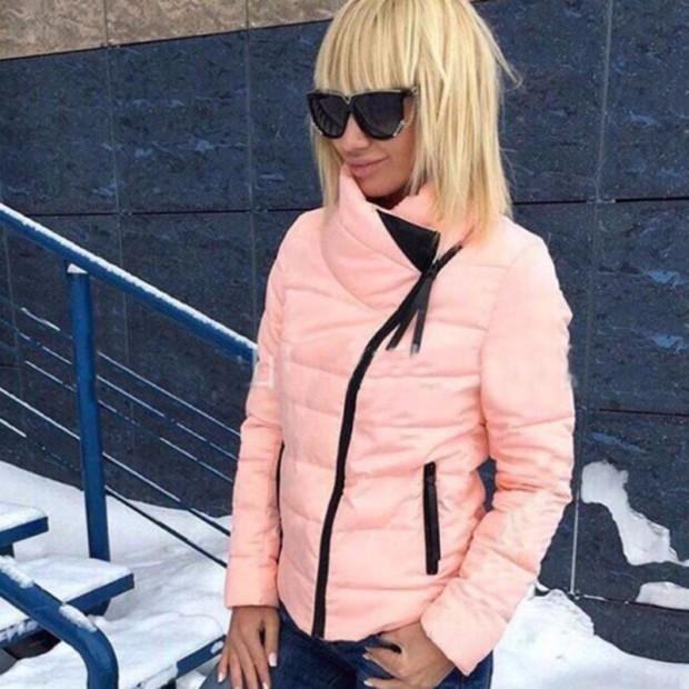 11.11.2016 kış Moda Kadınlar Katı Tam Kollu Cepler Fermuarlar 5 Renk Sıcak Kapşonlu Kadın Aşağı & Parkas Pamuk Mont