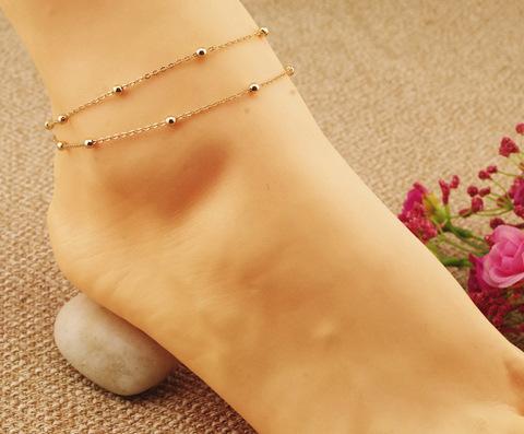 Barefoot Beach Double Chain Link Tassel Foot Bracelet Anklet Jewelry Toe Anklet Cheville Women Tornozeleira Ankle Bracelets(China (Mainland))