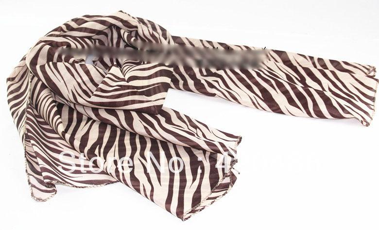 New Fashion Women Ladies Large Long Zebra Leopard Print Scarf Shawl Wrap Stole Chiffon Scarves Free Shipping(China (Mainland))
