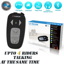 Updated Version!!For 4 rider together!!!1500M Motorcycle capacete BT Bluetooth Interphone Headsets Helmet Intercom with FM Radio