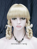 Free Shipping >>>   Lovely Beautiful girl short Pale Blonde Straight Bangs with braids wig PTLG005