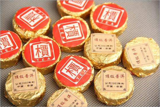 free shipping 6g made in 2003 Ripe Shu YunNan Chinese Tuo black puer pu erh tea