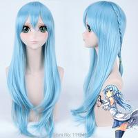 High Quality 85cm Long Braid Blue Anime Sword Art Online Asuna Yuuki Cosplay Wig