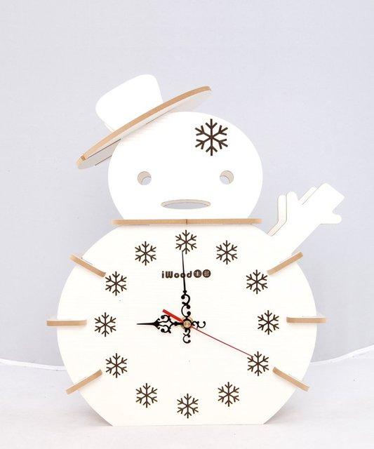 Merry Christmas!Cute snowman clock, wooden desk clock, high-quality wooden crafts