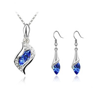 Fashion Sapphire jewelry sets crystal channel necklace Earrings made with Swarovski Elements jewellery for women