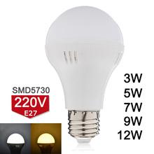 Nuovo arrivo e27 ha condotto la lampadina 220 v 3 w 5 w 7 w 9 w 12 w  Ha condotto la lampada smd5730 luminoso eccellente bombillas led luce bianco caldo/freddo bianco  D3-D12(China (Mainland))