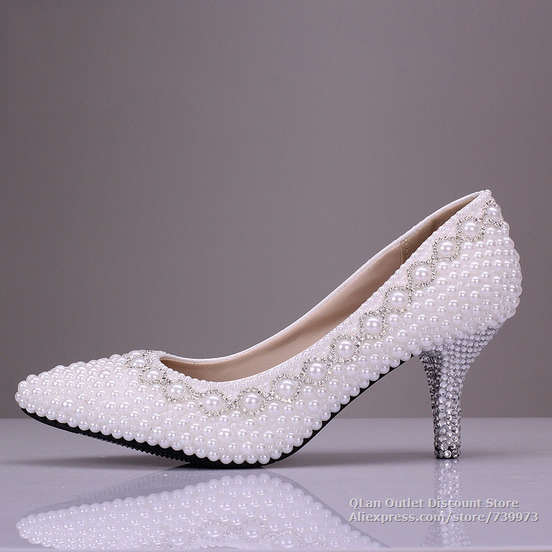 White Wedding Shoes With Pearls Wedding Low Heels