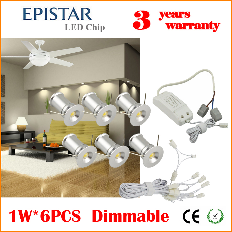 DHL Free Shipping Dimmable Small LED Spotlight Ceiling Recessed Light Fixture Kit 1WX6PCS Set AC85-265V 2700K,3000K,4000K,6000K(China (Mainland))