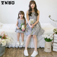 Mother Daughter Dresses 2016 Summer Striped Sleeveless Cotton Family Matching Outfits Mom Daughter Dress Family Look Clothing