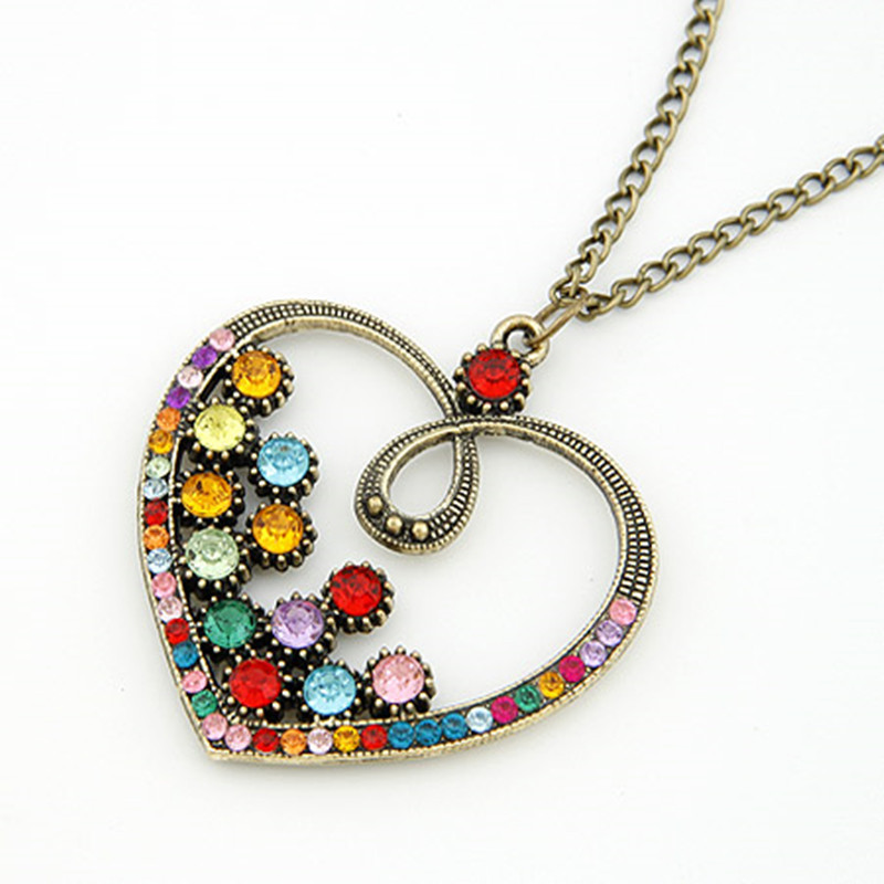 Fashion New Vintage Heart Necklaces & Pendants Long Necklace Jewelry For Women bijoux colares Wholesale(China (Mainland))