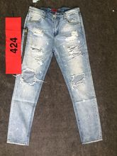 2016 Newest TOP KANYE WEST YEEZY oversized terry men jeans hiphop fear of god Four Two Four 424 broken hole side zipper jeans