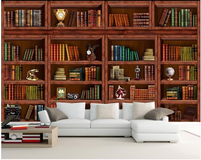 European Bookshelf mural wallpaper 3D stereoscopic study bookcase wallpaper the living room sofa TV background wall paper(China (Mainland))