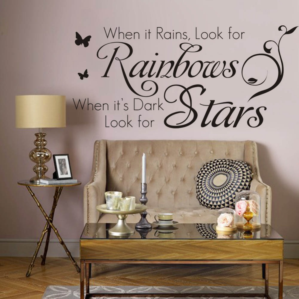 Rainbows srars characters letters wall stickers for living for 6 letter word for living room