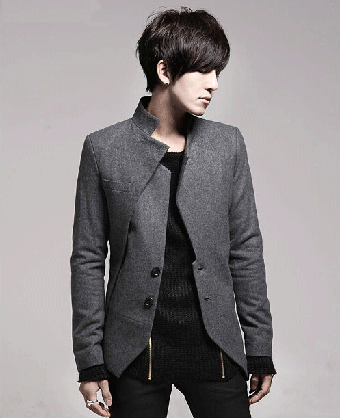 New 2015 Fall Casual Warm Fleece Asymmetric Blazer Mens Korean Style Fashion Irregular Slim Fit