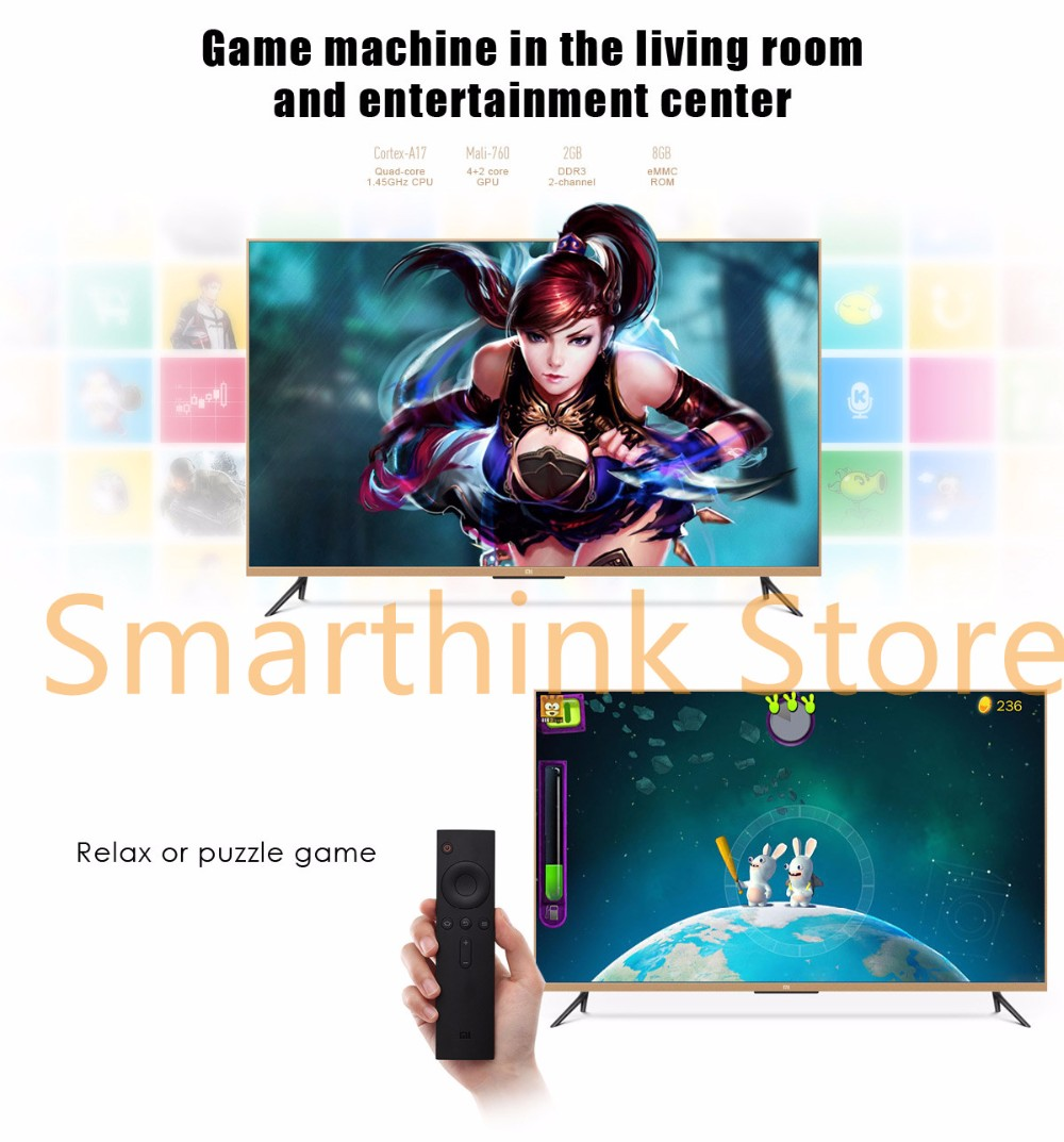 New Original Xiaomi TV 3 55 Inches RGB 4K 3840*2160 Ultra Thin HD Quad Core 2GB Ram 8GB Rom Bluetooth 4.1 Household Smart TV