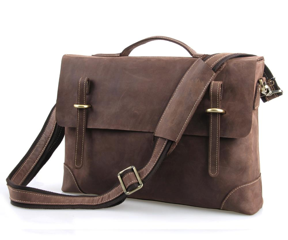 2015 Mens casual briefcase business Shoulder bags Men messenger bags  Computer Laptop Handbag Bag Men crazy horse Leather 7228