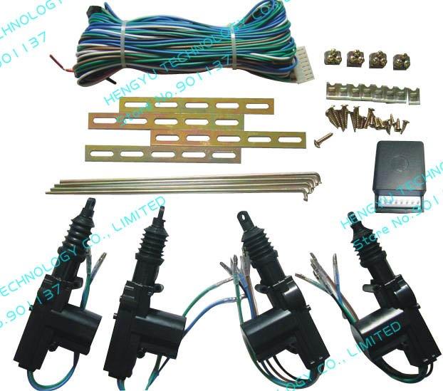 universal car DC12V 2 wire heavy duty power door lock actuator auto locking system motor hardware central lock 2 master 2 slave(China (Mainland))