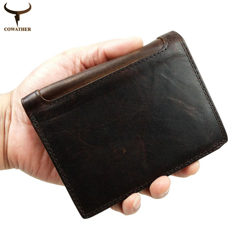 [COWATHER]2016 Men wallets male purse top layer cow vintage Crazy horse leather carteira masculina wallet for men free shipping(China (Mainland))