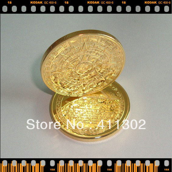 25pcs/lot 24k gold clad replica Mayan 2012 Prophecy Coin ,Commemorative Coin .999gold plated bullion Free shipping(China (Mainland))