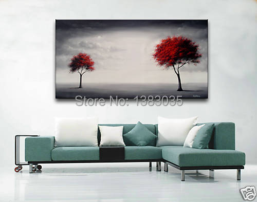 Hand Painted Red Leaves Trees Landscape Modern Abstract Wall Art Huge Canvas Painting Oil Picture Living Room Decoration - Fashion store