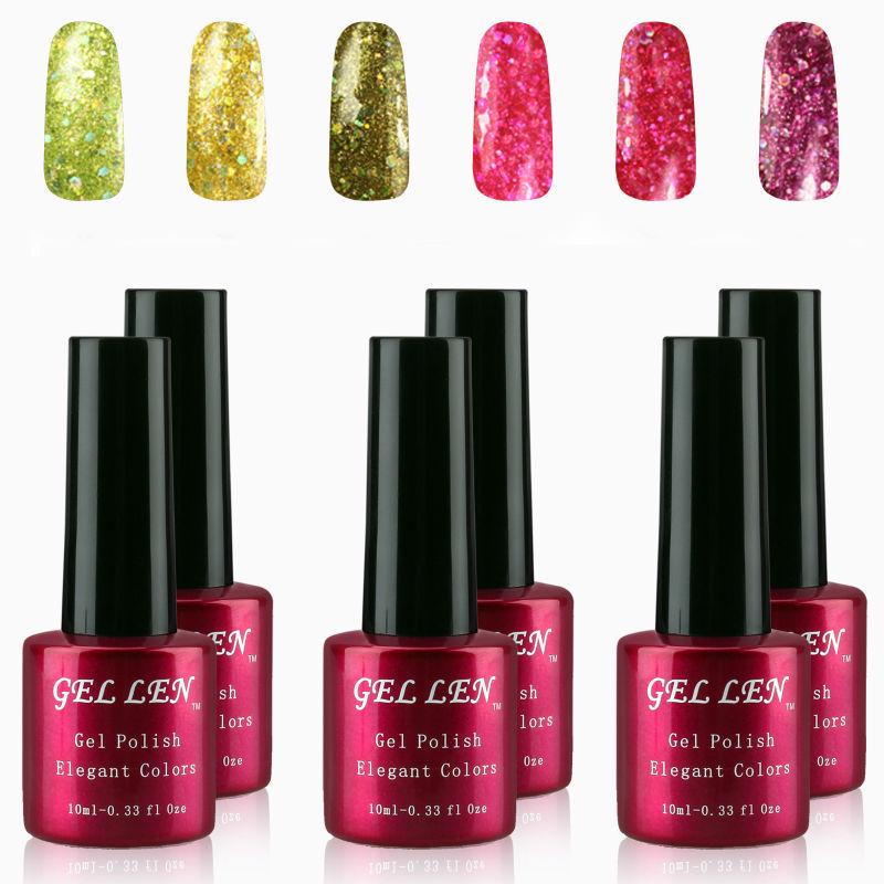 Hot Sale Nail UV Gel Polish 60 Glitter Colors Long Lasting Soak off UV Gel High Quality Gel Varnish 10ml 6pcs/lot Nail Art<br><br>Aliexpress