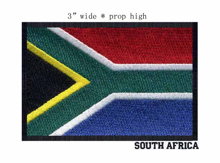 """SOUTH AFRICA embroidery black border flag iron on patch 3"""" wide free shipping football patch/badge for fashion(China (Mainland))"""