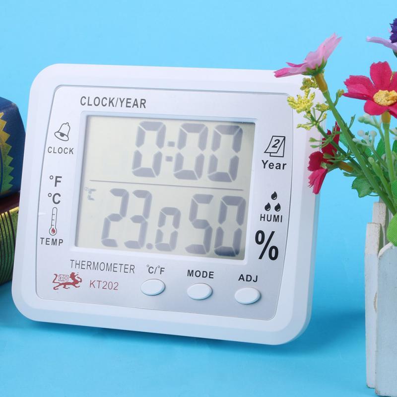 Indoor Temperature Humidity Display Digital Hygrometer Thermometer Humidity Meter 1pc White