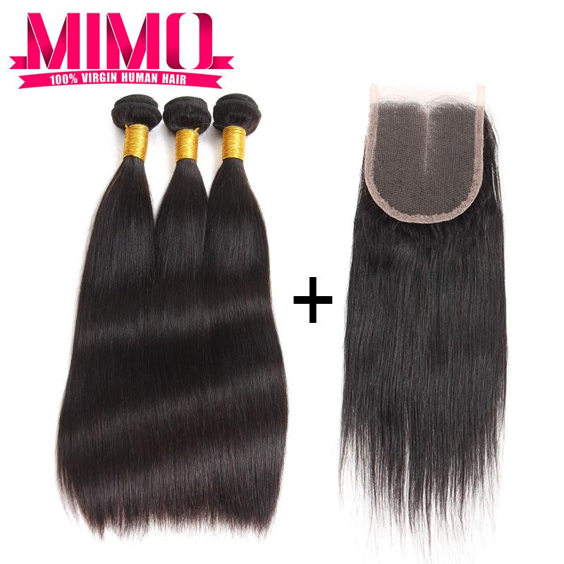 Hot!!! Malaysian virgin hair with closure Malaysian virgin hair straight 3 bundles with closure human hair bundles with closures