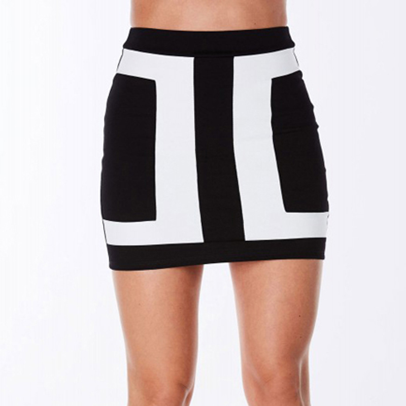 New Brand Fashion Arrival 2016 Black And White Patchwork High Quality Summer OL Party Casual Pencil Sexy Short Skirt Women(China (Mainland))