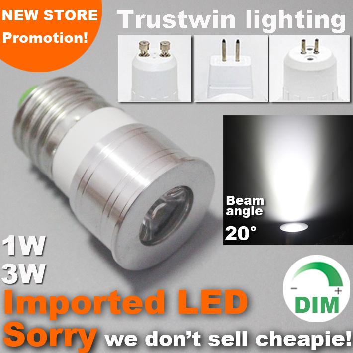15 20 degree narrow beam angle 12V 110V 220V lamp dimmable spot light bulb mini LED spotlight 1W 3W GU10 E27 MR11 MR16(China (Mainland))